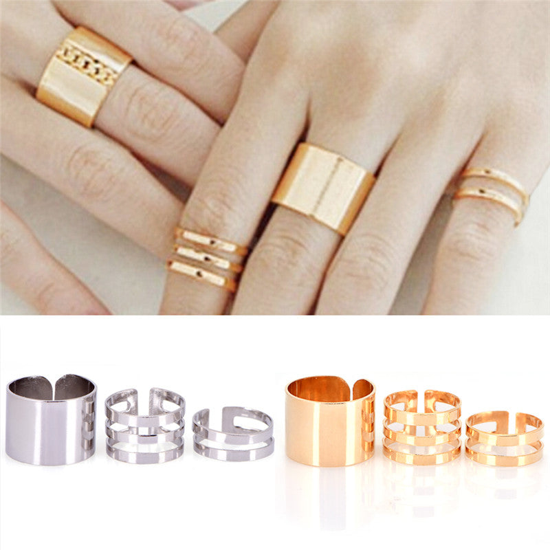 3Pcs/Set Punk Stack Plain Band Knuckle Midi Mid Finger Open Rings Set Jewelry