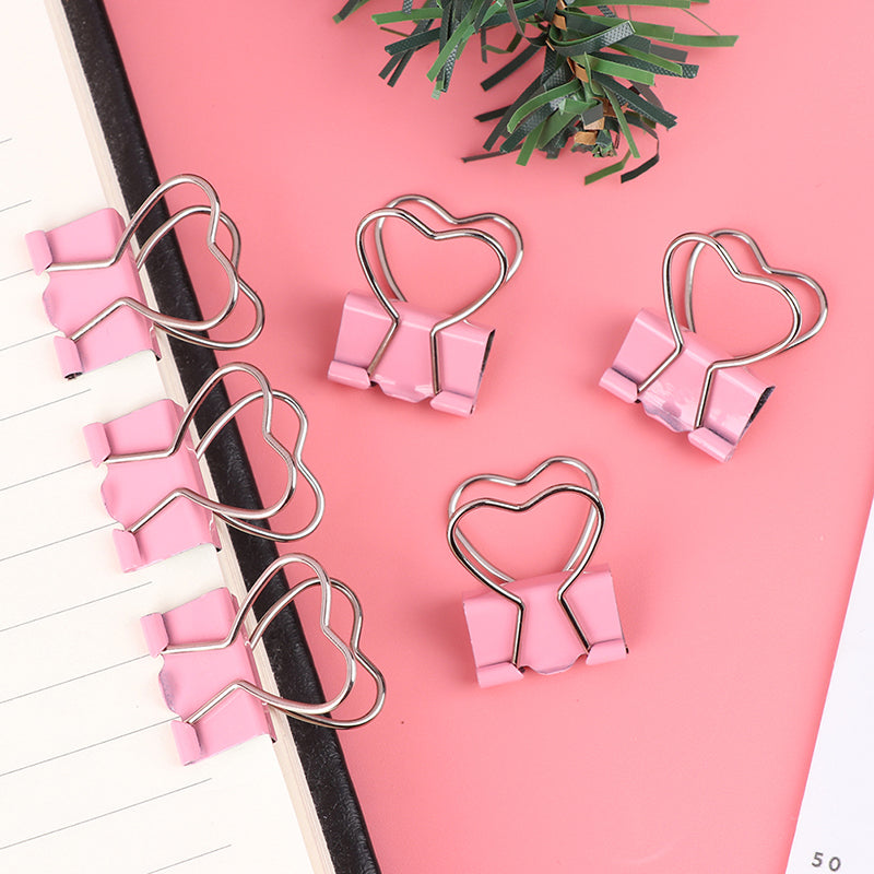 1/6pcs Pink Clip Heart Hollow Out Metal Binder Clips Notes Letter Paper Clip