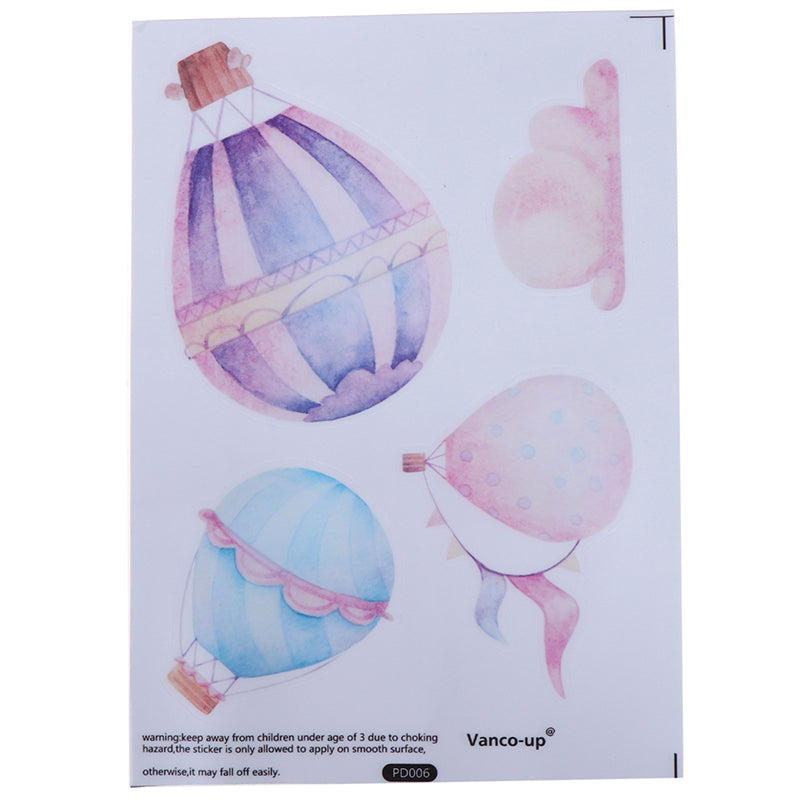 6sheets Colorful Hot Air balloon Wall Sticker Baby Room decor PVC Mural Decal