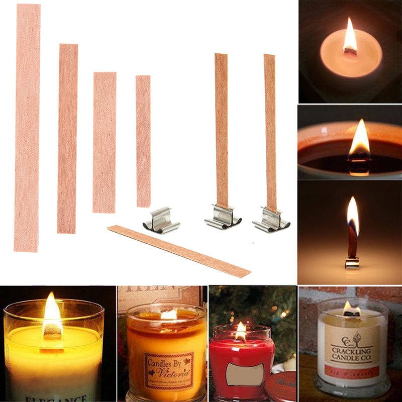 20PCS DIY Candle Wood Wick and Sustainer Tab DIY Candle Making Wax Wick Cores