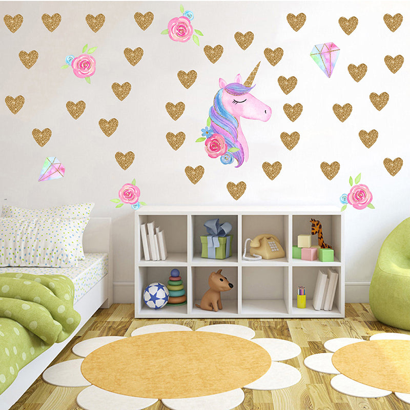 Creative Unicorns heart shape Horse Wall Stickers for Bedroom pvc Animal Decal