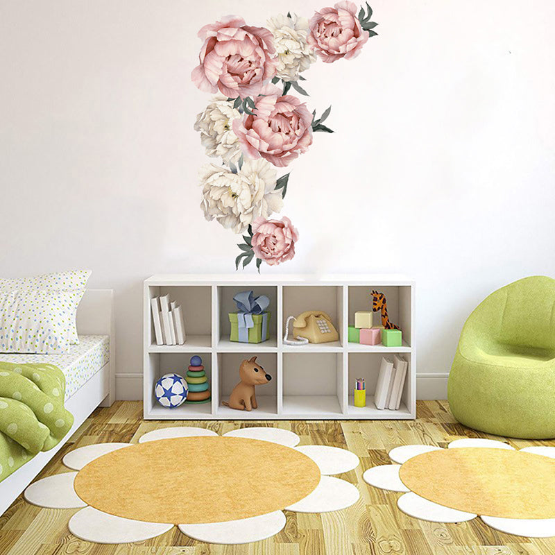 40*60cm Peony Rose Flowers Nursery Decals Kids Room Home Decor Gift Wall Sticker