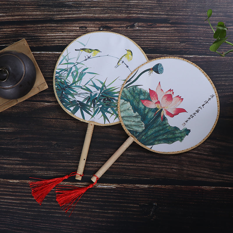 Chinese Style Round Hand Held Folding Silk Fan For Wedding Event Party Gifts