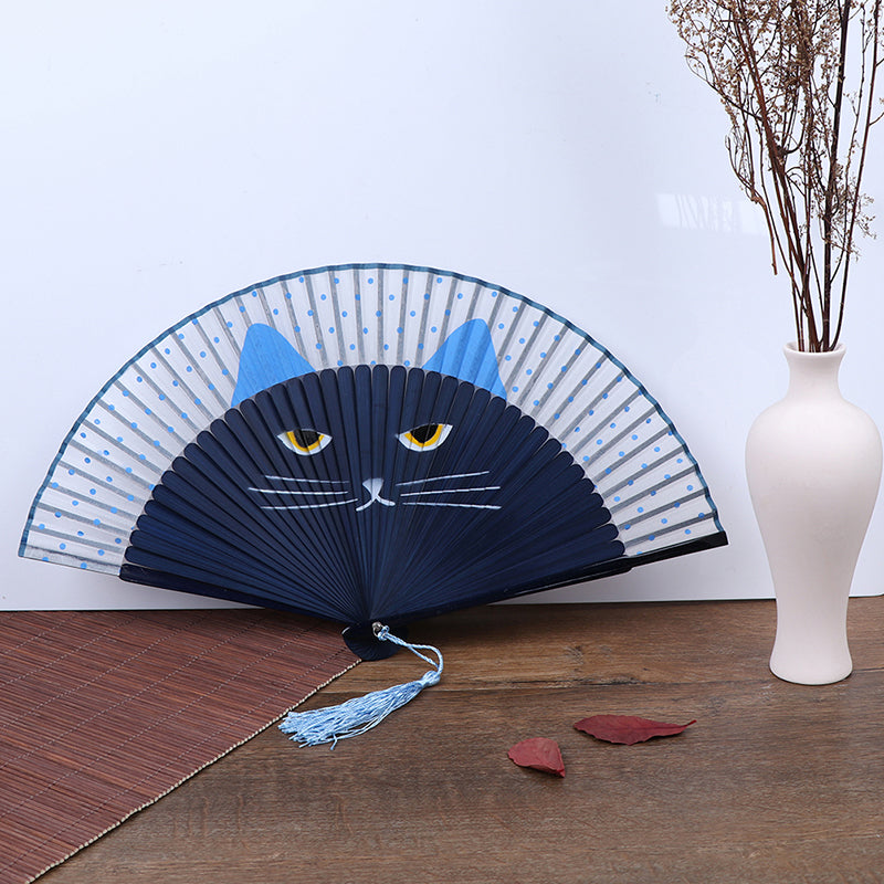 Summer Bamboo Folding Fan Hand Held Cartoon Cat Baking Varnish Fan Pocket Gifts