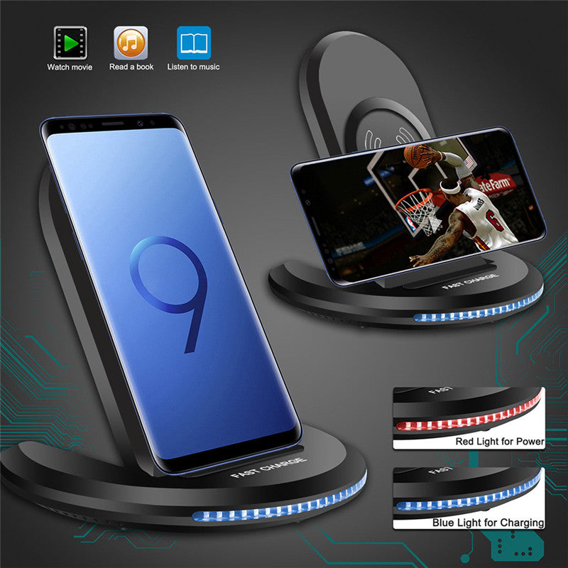 For Samsung Galaxy S8/S9 Plus Wireless Qi Fast Charger Charging Stand Dock Pad