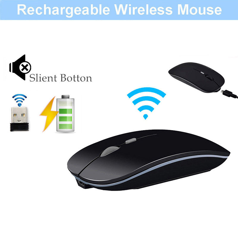 New 2.4GHz Rechargeable Wireless Mouse Silent Button Ultra Thin USB Optical Mice