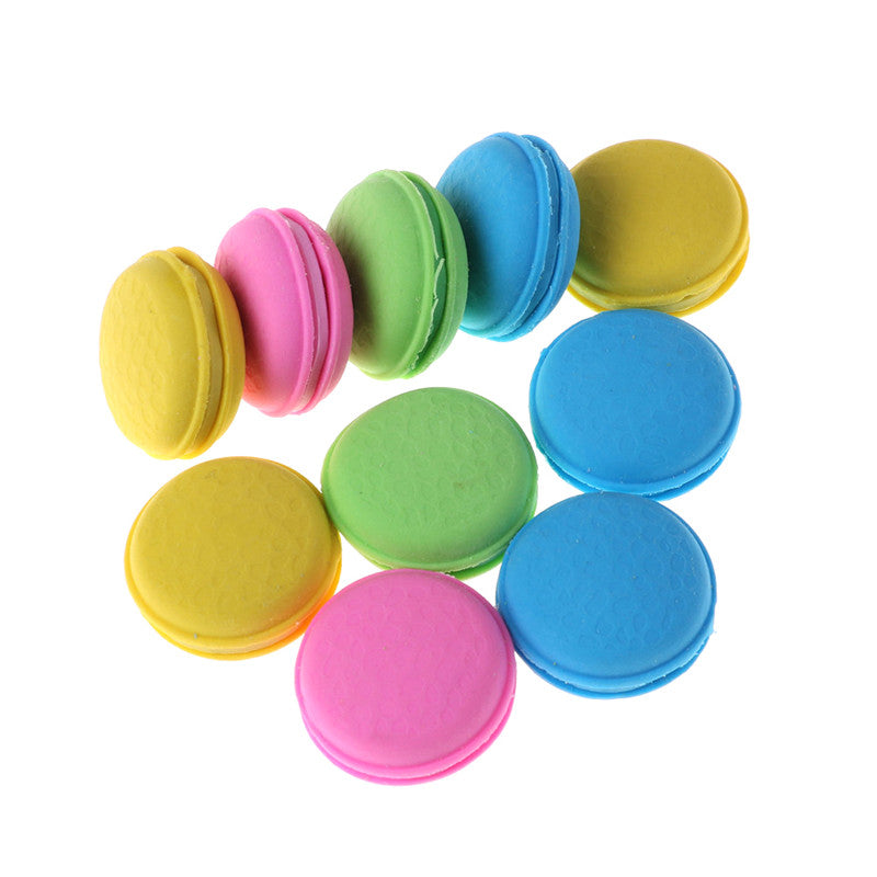 2Pcs Fashion Cute Macarons Colors Rubber Pencil Eraser Sweet Stationery