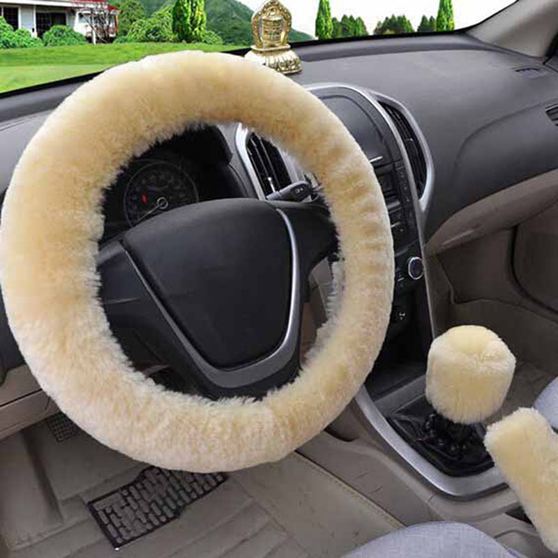 3Pcs/set Winter beige soft warm plush car steering wheel cover handbrake covers