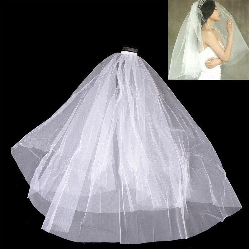 White Simple Two Layer Tulle Wedding Veil Ribbon Edge Comb Bridal Accessories