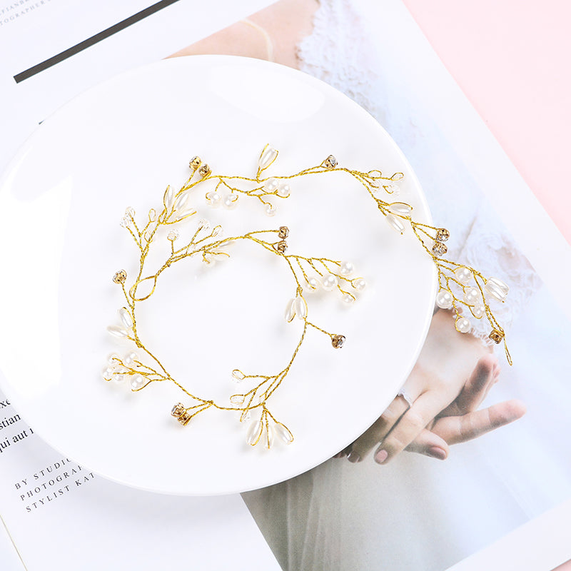 Women 35cm gold pearl rhinestone headbands wedding hair vine bridal accessories