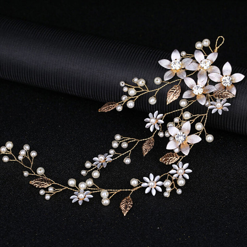 Women pearl rhinestone hair clip headbands bridal wedding hair accessories