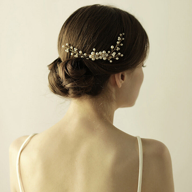 1PC Women pearl metal alloy hair comb bridal wedding hair accessories
