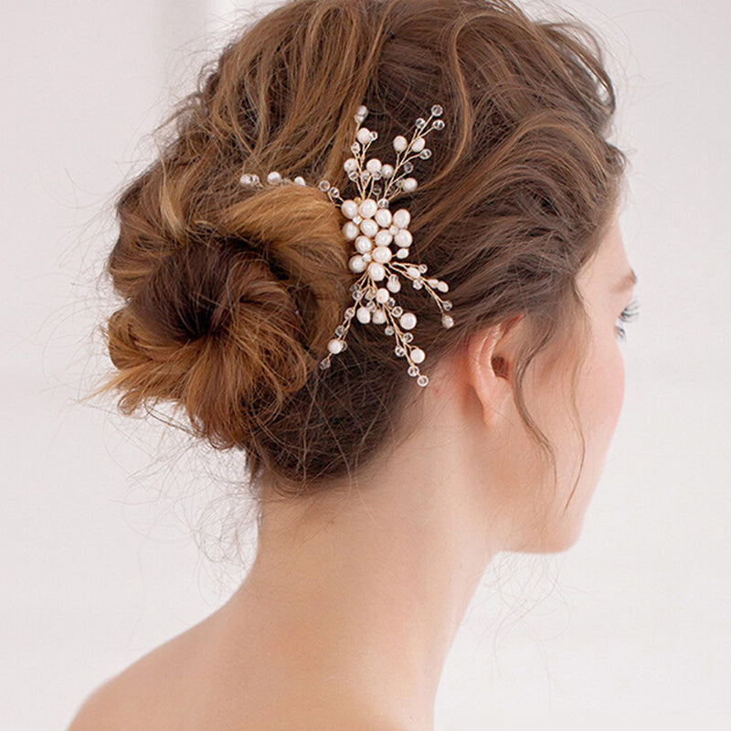 1PC Women crystal pearl rhinestone hair comb bridal wedding hair accessories