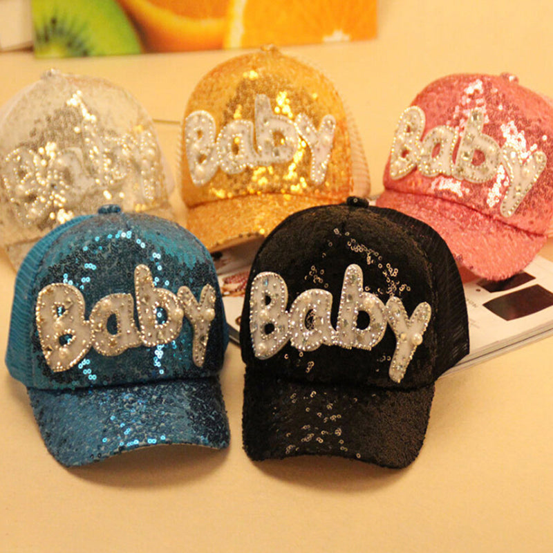 Kids baseball cap snapback hats sequin mesh children summer mesh caps