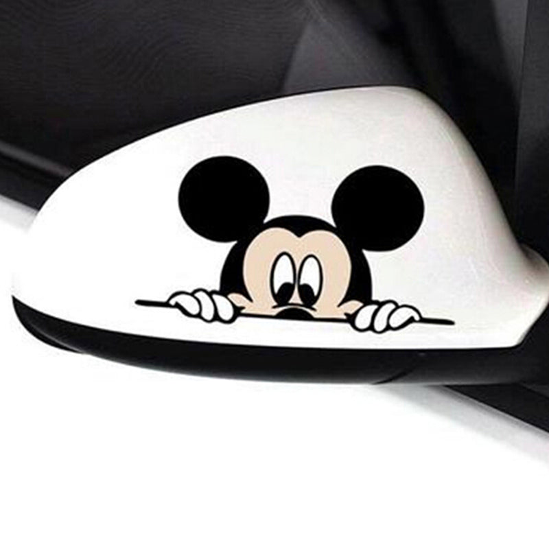1Pc Cute mickey mouse peeping car stickers rearview mirror decals 14*8cm