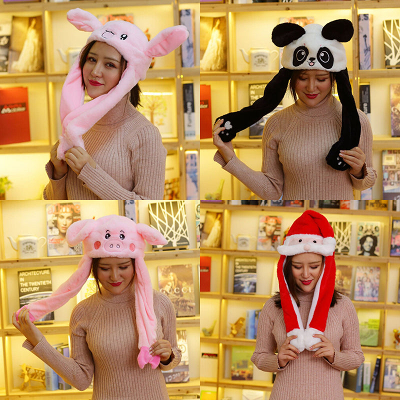 Lovely funny plush animal rabbit ear hat with airbag jumping ear movable caps