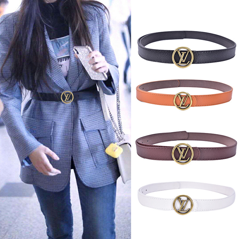 LV Leather Metal Pin Buckle Women Belts Waist Belt Party Dress Decor Waistband