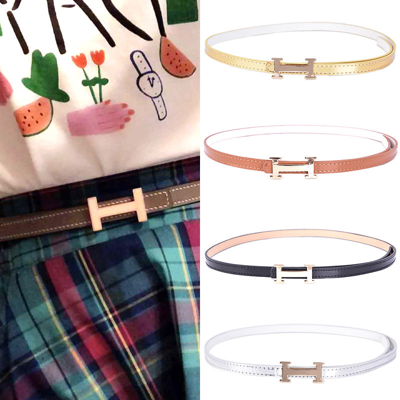 Fashion Women Lady Girl Skinny Waist Belt Thin H Buckle Leather Narrow Waistband