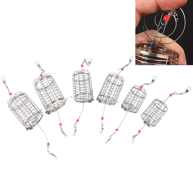 2Pcs/lot Wire Lure Cage Bait Cage Fishing Basket Feeder Holder Fishing Tackle