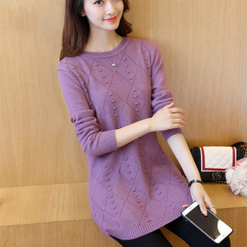 Women Blouse Knitted Sweater Round Neck High Elastic Shirt Slim Loose Solid Tops