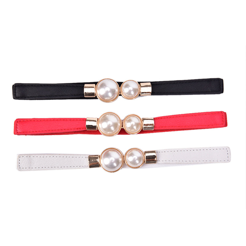 Women Elastic Waist Seal Belt Pearl For Dresses Skirt Waistbands Wasit Belt