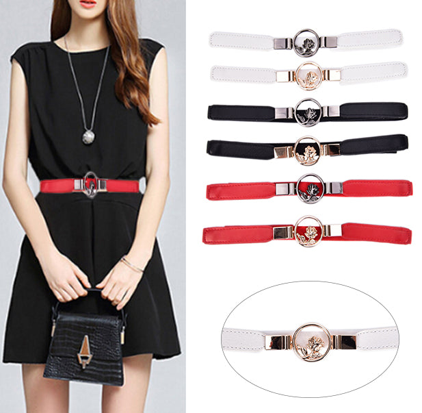 Womens Elastic Wide Belts Hollow Flower Wide Waist Belts Waistband For Dress