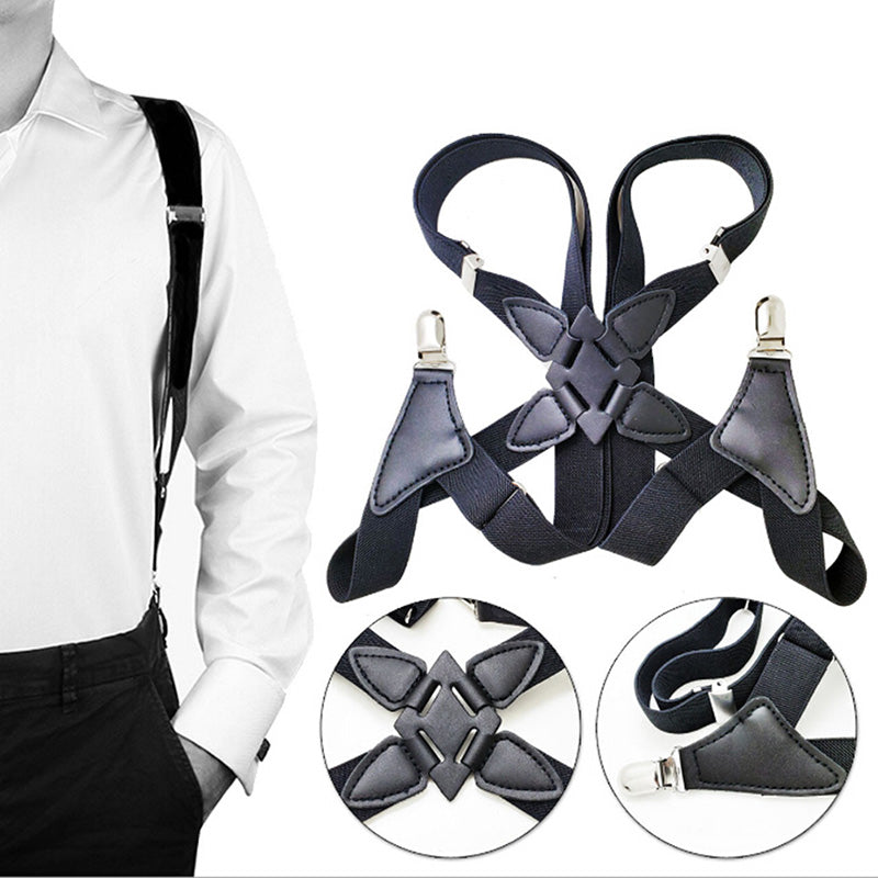 Suspenders Men Wide Adjustable Four Clip-on X- Back Elastic Braces Suspenders