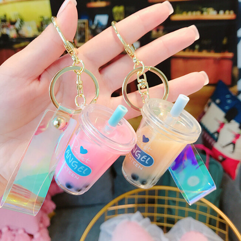 Cute Creative Mini Soft Drink Keychain Bubble Tea Acrylic Keyrings Jewelry Gifts