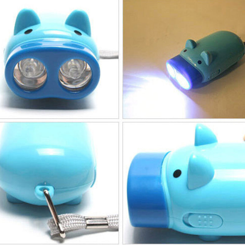Hand Pressing Power 2 LED Pig Flash Light Flashlight Wind-up Dynamo Torch Lamp