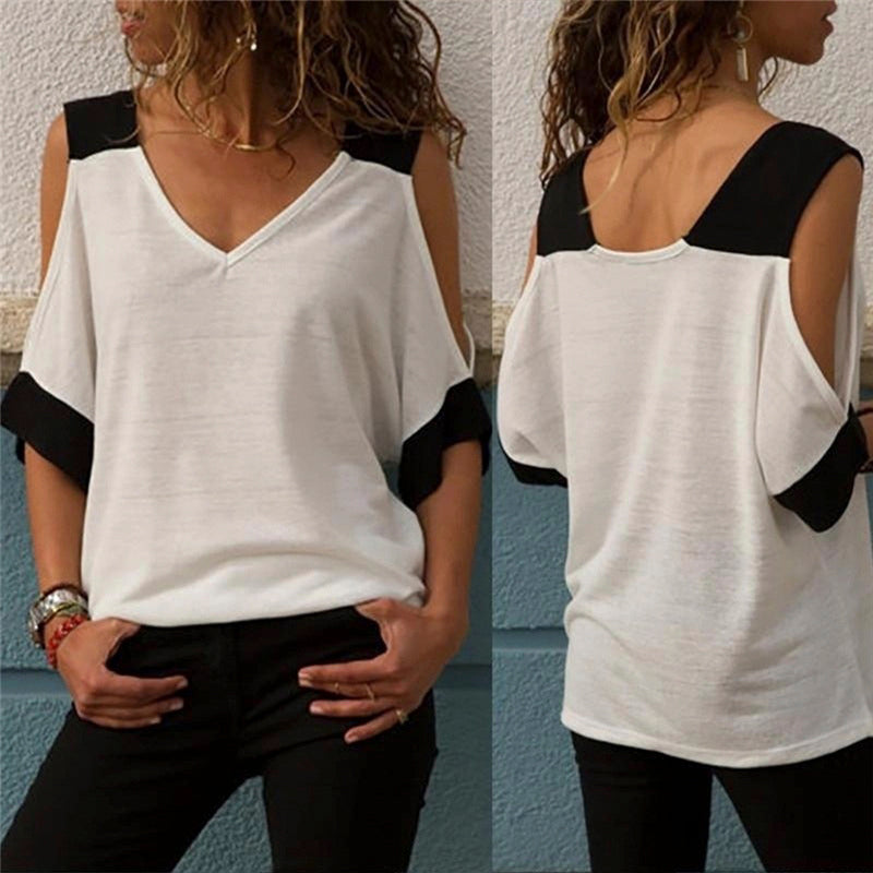 Women contrast strapless V-neck short-sleeved T-shirt Tops
