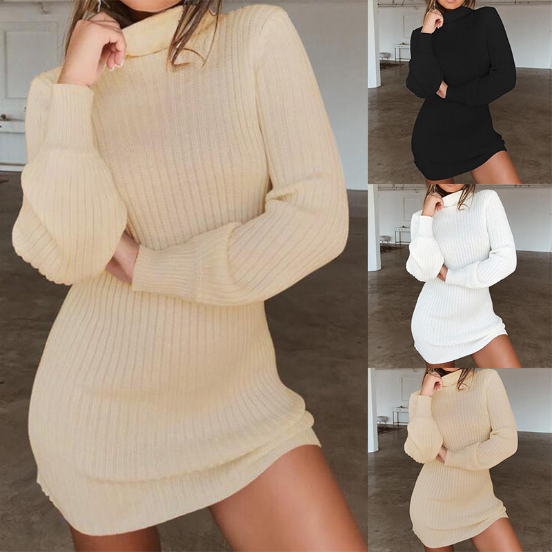 Women Long Sleeve Knitted Sweater Dress Solid High Collar Slim Fit Mini Dress