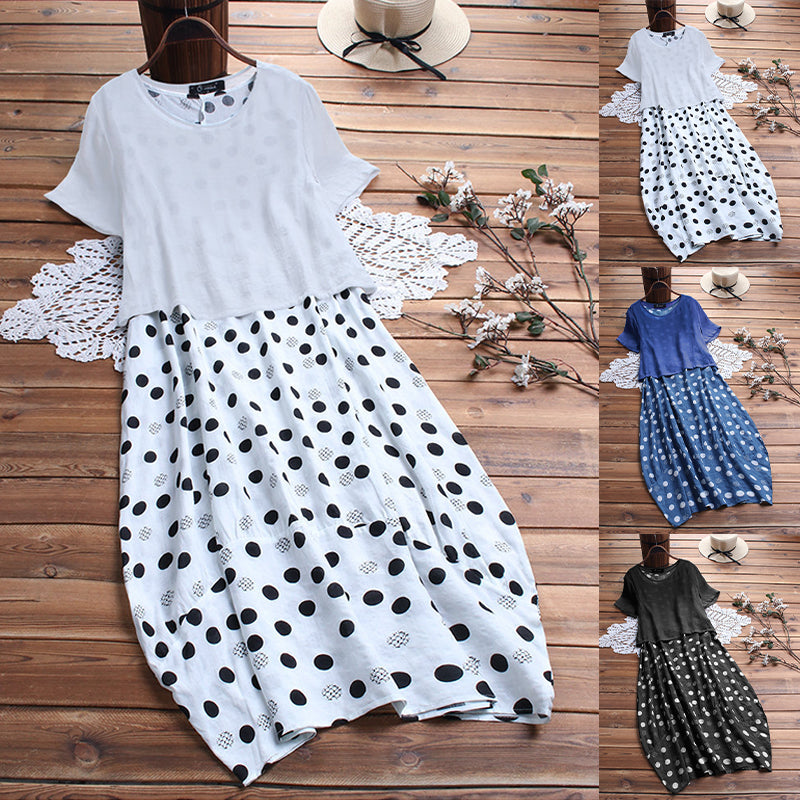 Women Polka Dot Two-Piece Short Sleeve Loose Plus Marcy Dress