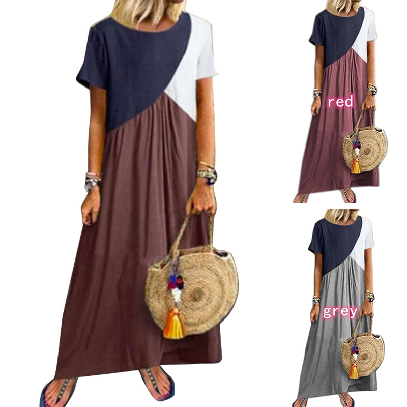 Women Round Neck Dress Short Sleeve Color Matching Loose Casual Dresses
