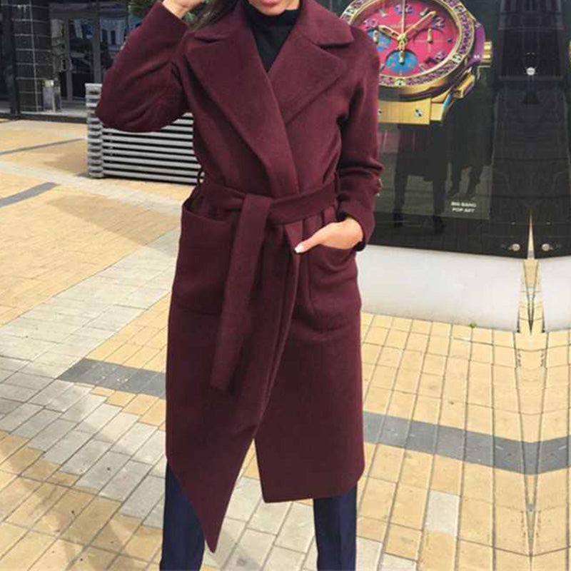 Women's Coat Lapel Pockets Belted Jackets Solid Color Coats Female Outerwear