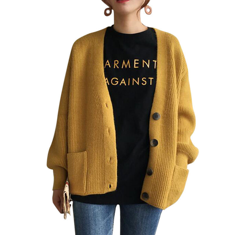 Women Cardigans Sweater Solid Loose Single Breasted Casual Knit Jacket Coat