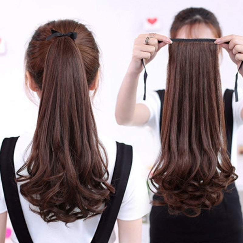 Wig Extension Ponytail Ribbon-Type Grafting Lifelike Curly Straight Wavy Hair