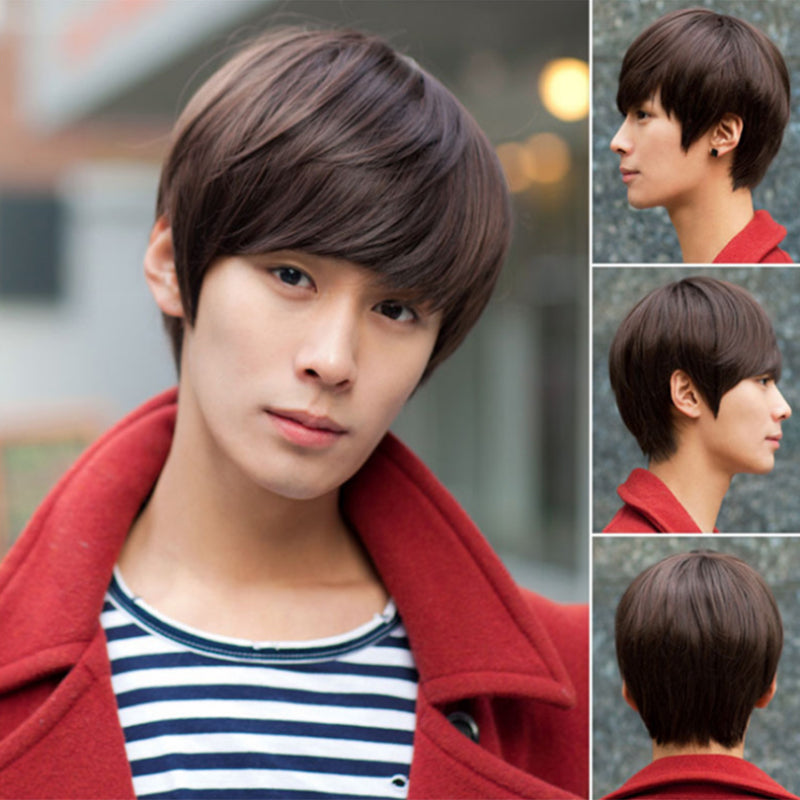 Korean Men's Handsome Short Straight Hair Full Wigs Cosplay Party 3 Colors