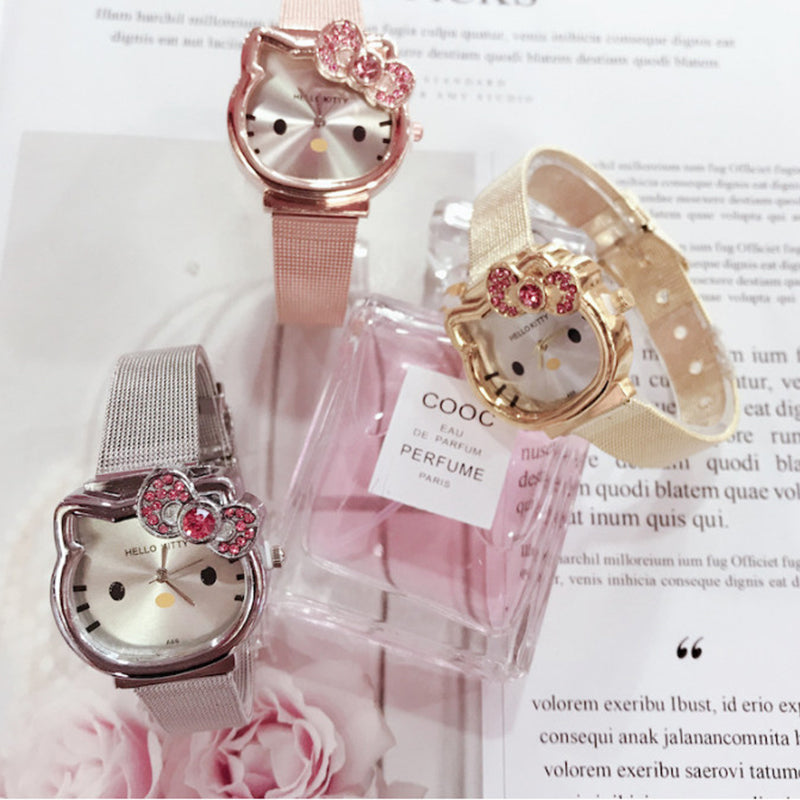 Hello Kitty Gold&Silver Steel Quartz Watch for Women Girl