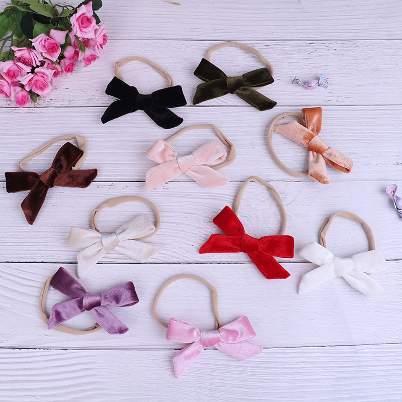 Baby girls velvet bow headband infant headbands kids hair accessories