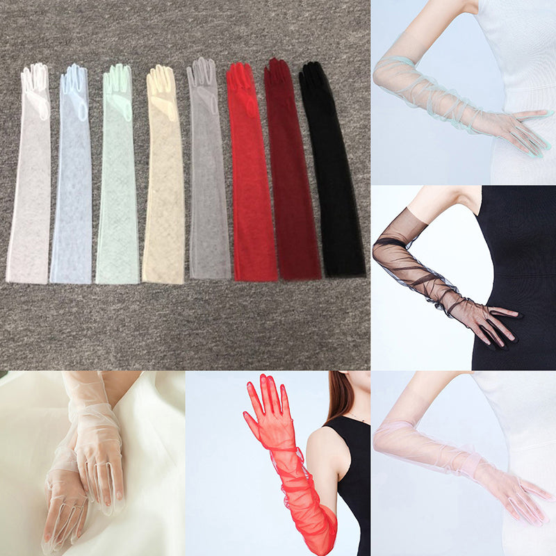1pair sheer tulle long gloves lace semi sheer bridal wedding gloves photo parts