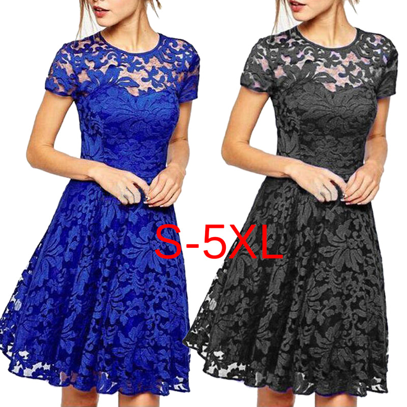 Fashion Elegant Hallow Out Lace Dress Party Slim Dresses Plus Size S-5XL