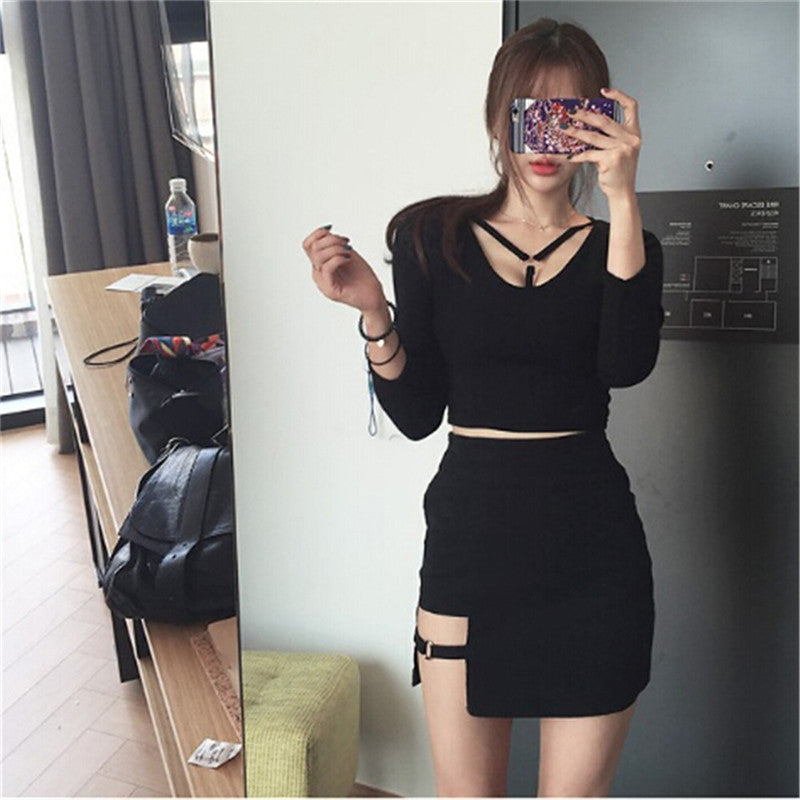 Sexy Spy Women's Skirts Mini Asymmetrical Black High waist Female Jupe