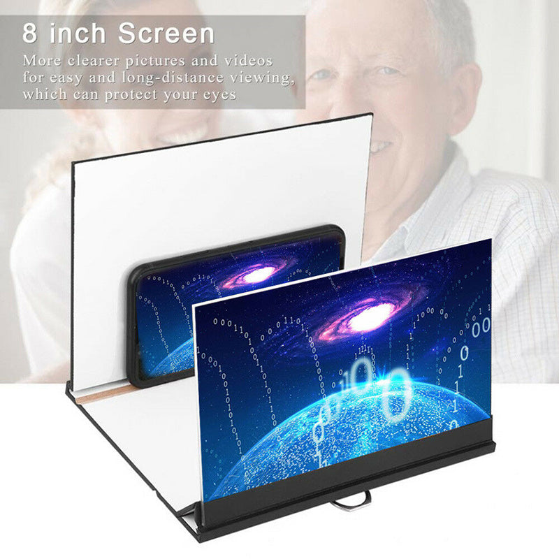 8in 3D Stereoscopic Screen Magnifier HD Video Amplifier Wood Stand For Phones