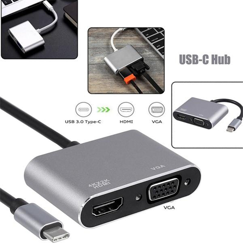 USB 3.1 Type C To VGA Multiport Adapter USB C To HDMI 4K UHD Converter Ports HUB