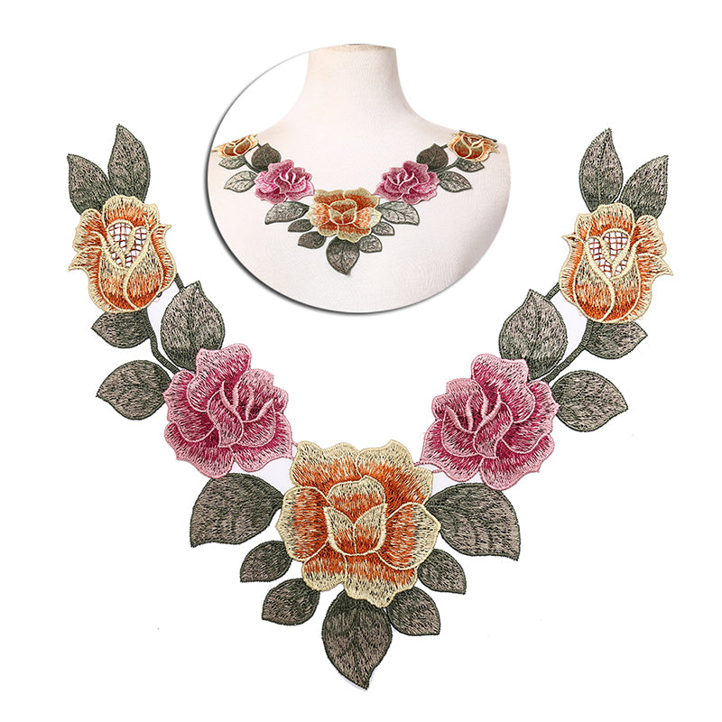 diy embroidered floral lace neckline neck collar trim clothes sewing applique