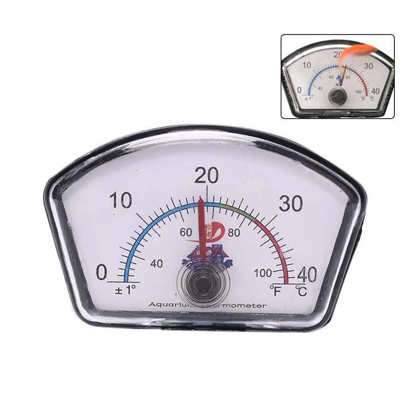 Aquarium thermometer pointer fish tank temperature dial submersible suction cup