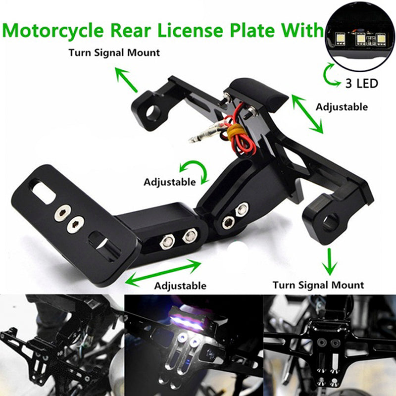 Motorcycle CNC License Plate Holder Bracket LED Rear Light Fender Eliminator Set