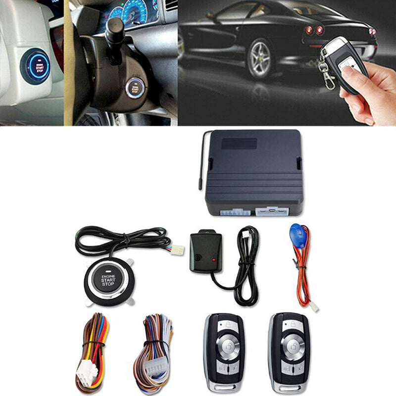 12V Universal Car Push Button Start Remote Ignition Vibration Alarm System