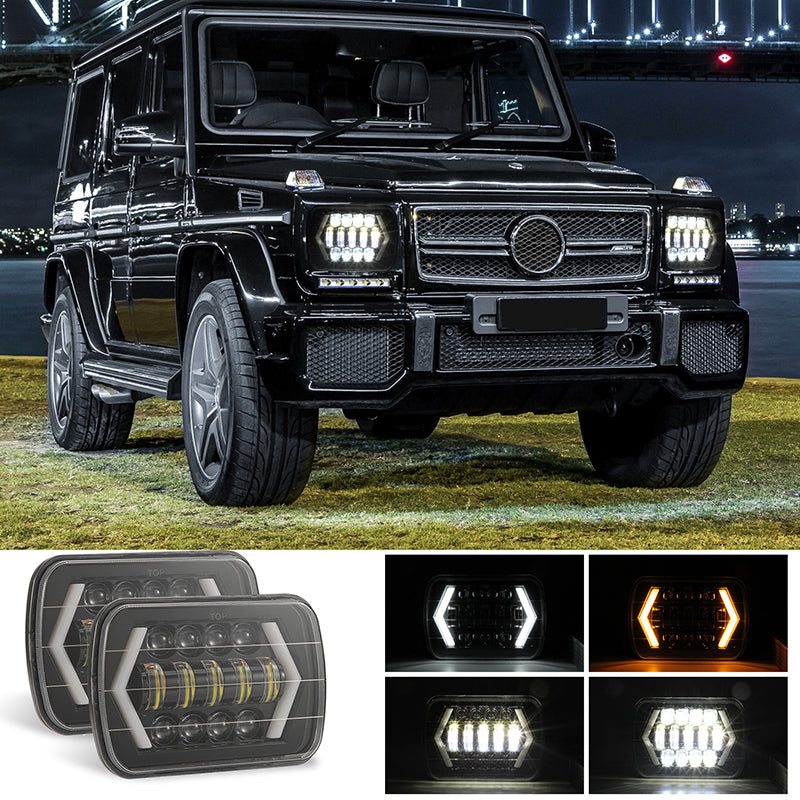 300W 7x6 5X7 LED Projector Headlight Hi-Lo Beam DRL For Cherokee Wrangler JK