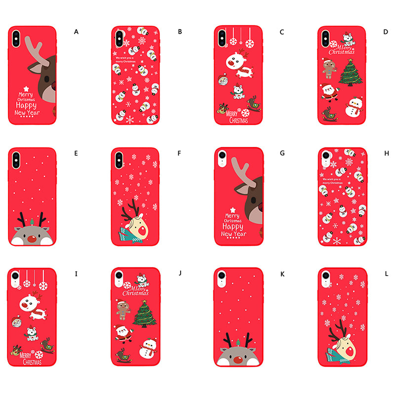 Phone Case For iPhone X XR Christmas Cartoon Elk Soft TPU Silicone Back Cover